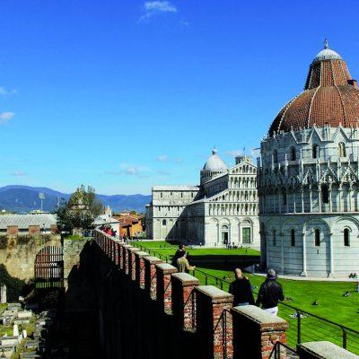 Pisa, city walls of Piazza dei Miracoli